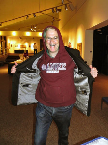 I got a nice thank-you sweatshirt — my first hoodie — at Roanoke College in Salem, Virginia.