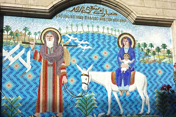 There's been a Christian community in Egypt since the time of St. Mark. In Coptic Christian churches, mosaics remind all that Mary and Joseph fled with their baby to Egypt to escape King Herod's decree to kill all newborn boys.