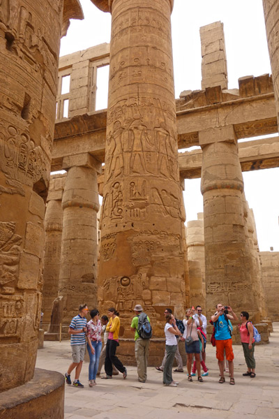 This is the towering Hypostyle Hall with each column a stack of drums: Design it, quarry it, ship it, stack it, polish it, carve it, paint it--done all for the glory and favor of the god.