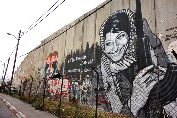 There's a big culture of hero- and martyr worship in Palestine. This woman, Leila Khaled, won notoriety by hijacking a TWA plane flying from Rome to Tel Aviv in 1969. Is she a terrorist or a freedom fighter? It really depends on who you ask.
