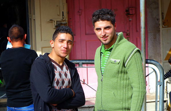 Young Palestinian men live with strict codes of conduct. In traditional families they're expected to marry into their religion (Christian or Muslim), many marriages are arranged, and any physical romance comes very late in the game. In a few communities, mothers-in-law even expect to see a bloody sheet after the wedding night. I saw a couple walking down the street holding hands, so I asked my guide about it. He said, Theyre engaged. I saw the ring.