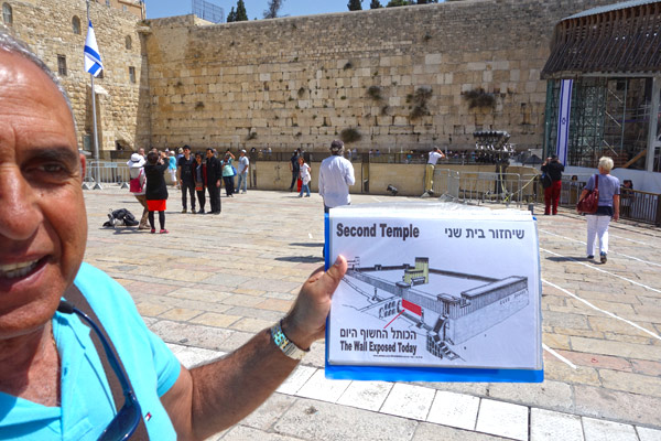 The sacred-to-Jews Western Wall is open to anyone, any time. My guide, Gideon Har-Hermon, illustrates with a chart the tiny segment of the original wall that survives today.