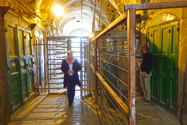 A daily part of life in strife-torn Hebron is for residents to go through security turnstiles like this.