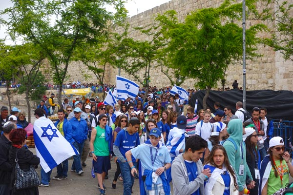Patriotic parades with plenty of Israeli flags circled Jerusalem's old town as Israel celebrated 65 years of independence.