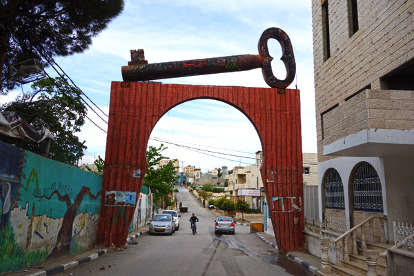 In several places around Palestine you see big keys symbolizing the determination of refugees who left Israel to return to their home villages.