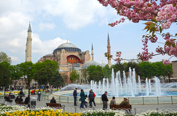 The historic and touristic center of Istanbul between the Blue Mosque and the Hagia Sophia church (shown here) is now virtually traffic-free, with blossoming trees, refreshing fountains, and a mix of strolling visitors from all over Europe and the Middle East as well as locals. I had to just sit on a bench and marvel at the almost Parisian elegance of the scene.