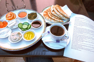In Ramallah I slept at a friendly and comfortable hotel called Beauty Inn. Their breakfast was delightful.