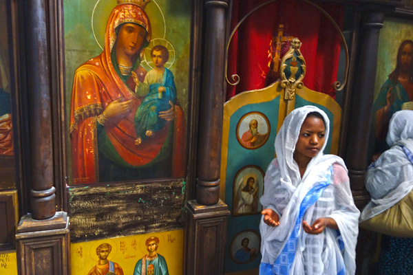 The Monastery of St. George is Greek Orthodox. Lots of pilgrims, especially from Ethiopia and Greece, hike here, light candles, and gaze at its icons for inspiration.