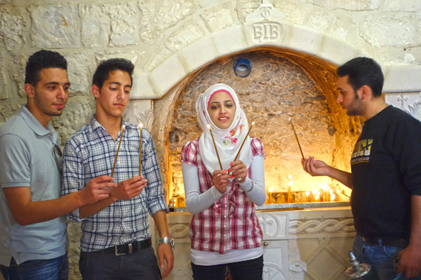 Palestinian Christians come to the Monastery of St. George too. While less than 2 percent of Palestine is now Christian, those who are come from families that have lived here as Christians since the 1st century.