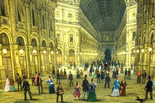 The Galleria Vittorio Emanuele II was famously the first place to be illuminated with electric lights in Italy. Imagine the wonder of it all.