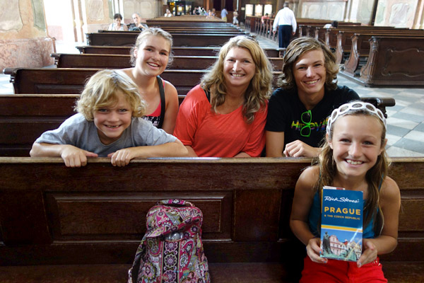 One of my favorite things lately is meeting families on the road whose parents are making the travel experience fun and enlightening for the kids. This mom is a super guide — she's with her kids in what could be just another old church...but look at the enthusiasm in her little travelers' faces. (I like to think the guidebook they're toting helps, too.)