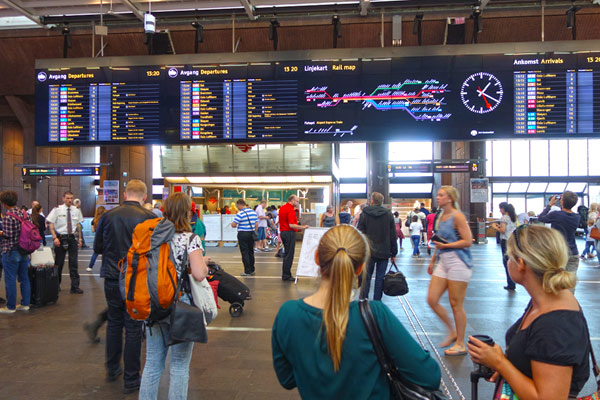In Oslo's main train station, I was impressed by the modern departure boards and how people-friendly the place was. This was just a 10-minute walk from our cruise ship.