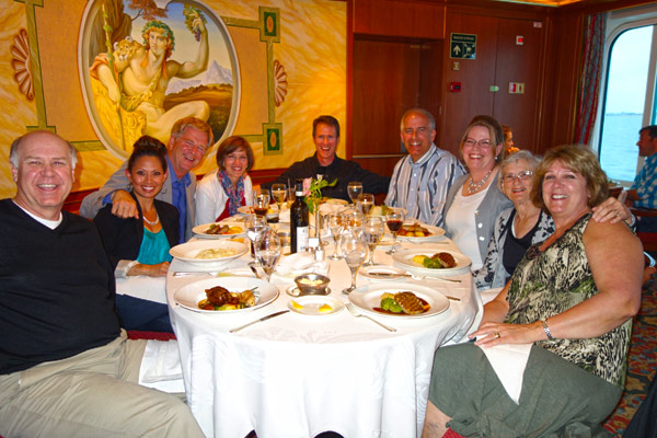 A fun thing about cruising is that you meet lots of people, and you always have something in common: You're both enjoying wonderful vacations — with lots to talk about. We would often team up with new friends over a meal in the evening after setting sail to our next destination.