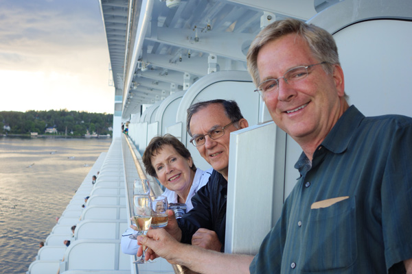 A fun way to meet the stateroom neighbors was to share a drink as the ship sliced through particularly scenic stretches of our cruise.