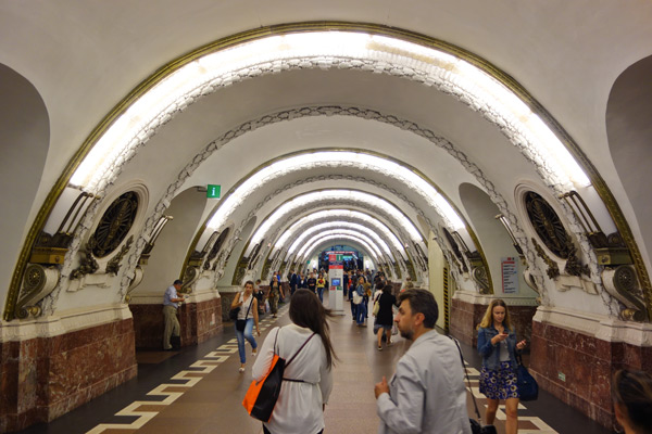 St. Petersburg's subway system, like Moscow's, is vast and treats commuters like VIPs with grand and stylish-in-Soviet-times halls like this. The system gives St. Petersburg a magnificent infrastructure that will move its workforce until the end of time.