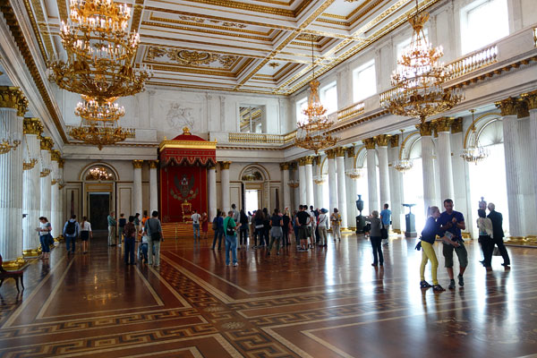 Throughout Europe, former palaces — or at least palatial buildings — are filled with a country's best paintings. But nowhere is the rich mix of a royal art collection and a royal palace so powerful. This is the throne room of the czars.