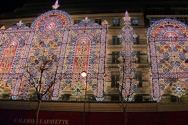The City of Light's Lights  Walk up and down the Boulevard Haussmann admiring the fabulous lights at Printemps and Galeries Lafayette. Try to guess how many bulbs it took to create Galeries Lafayette's illuminated canvas. (Hint: Last year, it was 150,000.)