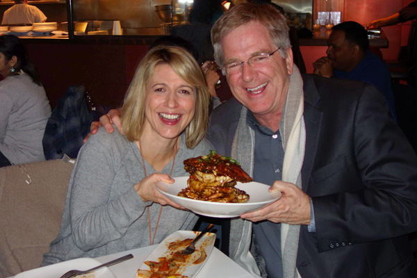 "For the last couple of shows, my partner Trish and I have enjoyed double dates with Samantha Brown and her husband. This shot is called ""Two Travel Hosts and a Crab."" Samantha is as delightful off camera as she is on."