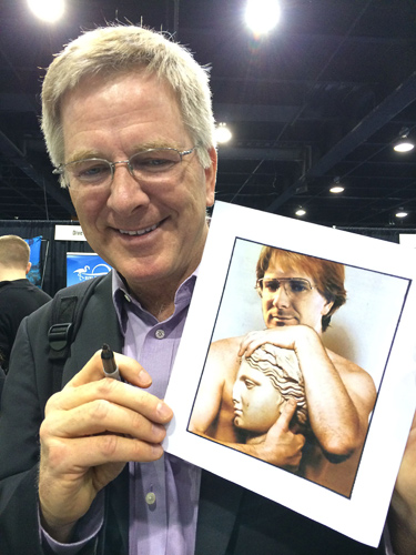 I get to meet an amazing array of people at these shows, and they bring me lots of interesting things to autograph. In Chicago, someone brought a photo of a younger me Photoshopped onto the body of someone who really enjoys Greek sculpture. While little surprises me anymore, this was certainly creative!