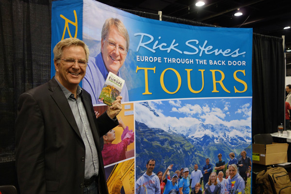 The Rick Steves' Europe booth is designed to sell tours. We staff it with three tour guides and hand out our promotional material. We gave away 4,000 tour newsletters in two days last weekend in San Jose.