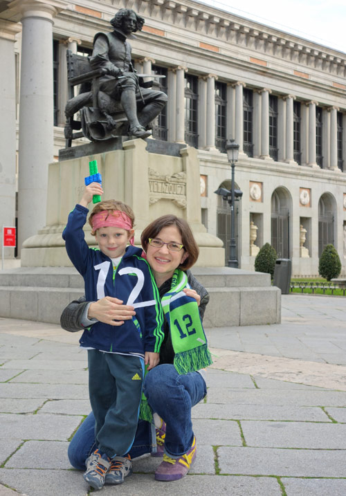Amanda Buttinger and her son Teo Gabriel at the Prado in Madrid, Spain.