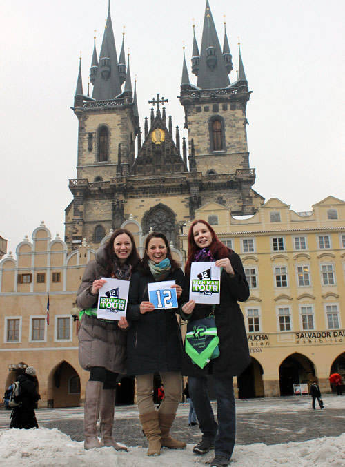 Jana Kratka, Jana Hronkova, and Katka Svobodova in front of the Týn Church on Old Town Square in Prague, Czech Republic.