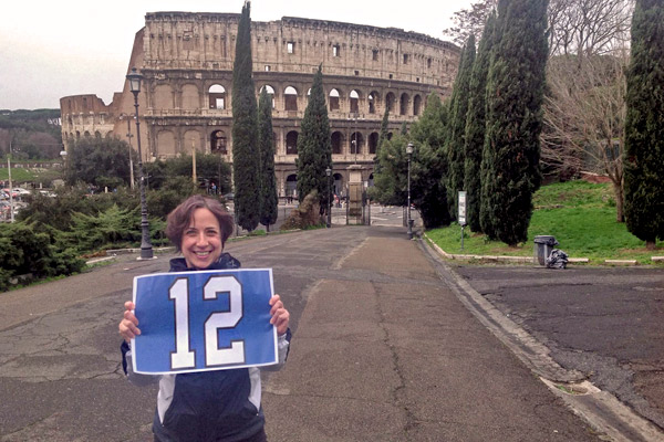"Nina Bernardo standing in front or the original ""superbowl"" — the Colosseum in Rome, Italy."