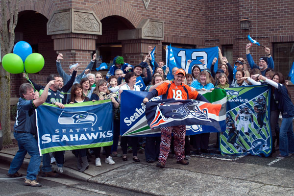 And back in Edmonds, Washington everyone at my office is catching the Seahawks spirit...well, everyone except for our lone Broncos fan, co-author Cameron Hewitt.