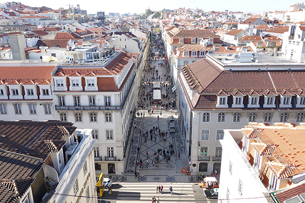 Rua Augusta: The triumphal arch that serves as a gateway to the city is now open for visitors, affording a grand view down the main drag, Rua Augusta.  As can be seen from the top of the arch, the center of town was rebuilt in a strict grid plan after the earthquake/tsunami/fire of 1755 left Lisbon a smoldering pile of rubble.
