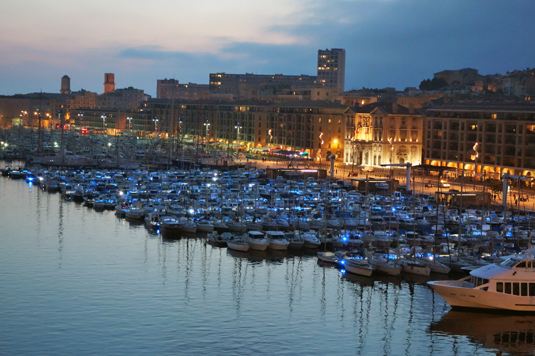 Marseille harbor at dusk