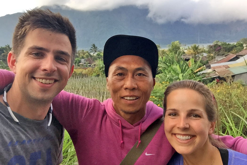 Jackie, Andy, and their guide in Bali