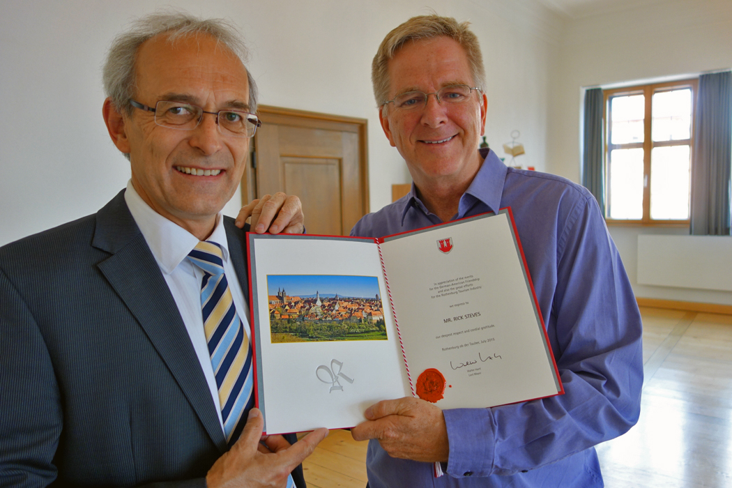 Lord Mayor of Rothenburg with Rick Steves