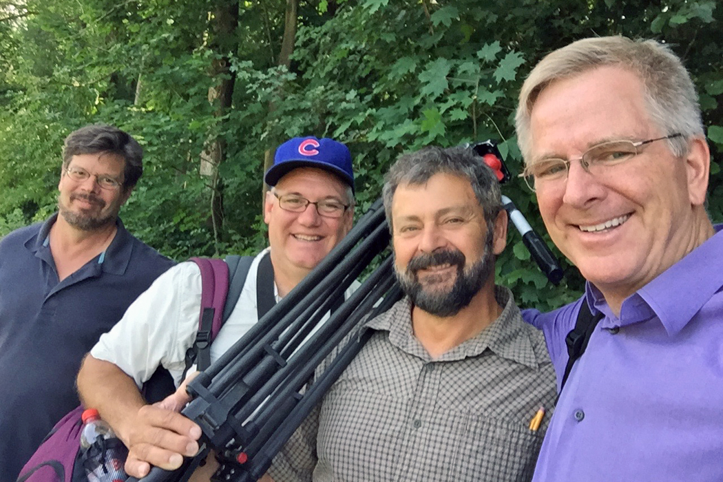 Rick Steves TV crew in the forest
