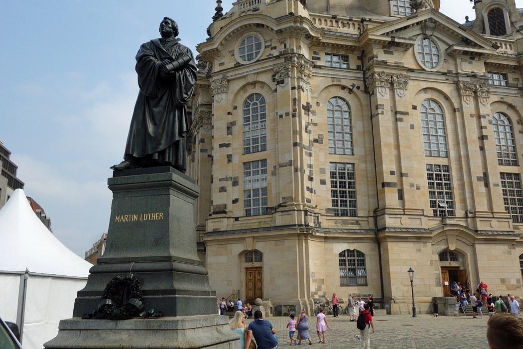 Luther statue in front of church