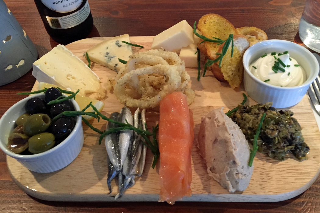 Cornish cheese and fish plate