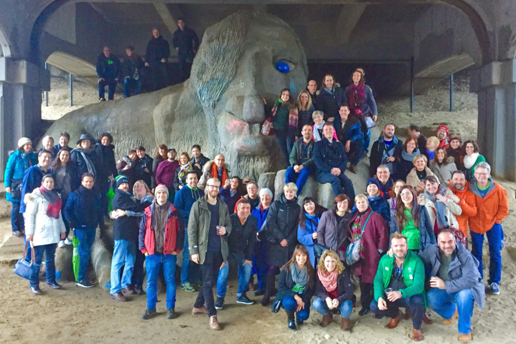 Guides in front of Fremont Troll