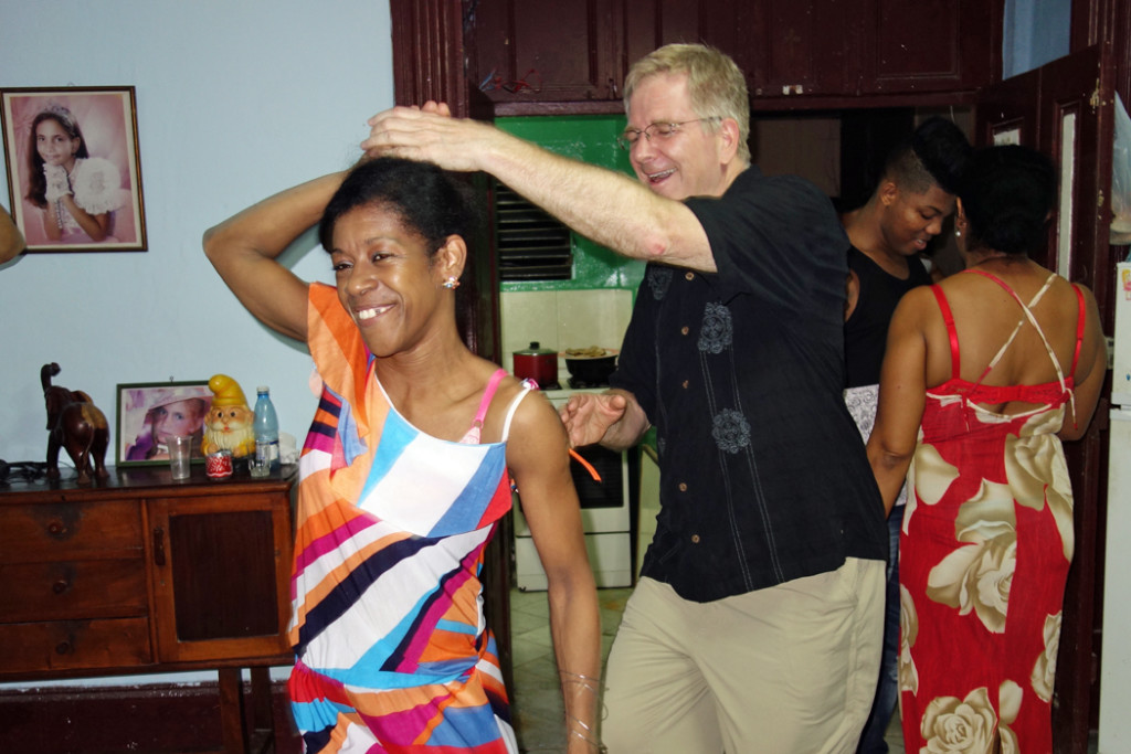 Rick Steves dancing with Cuban woman