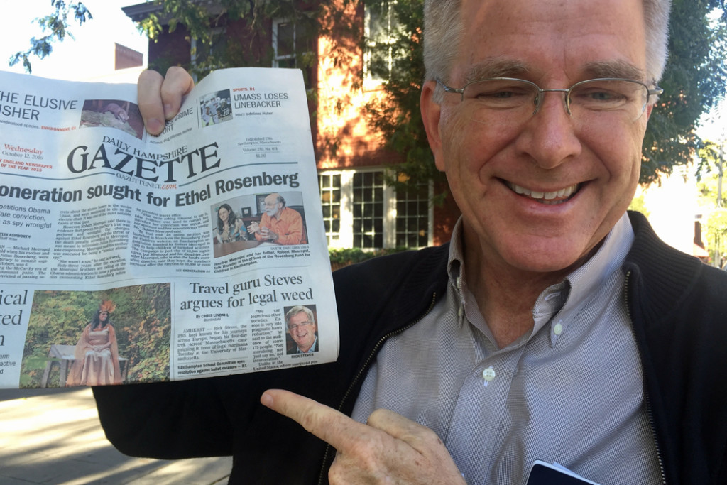 Rick Steves with newspaper