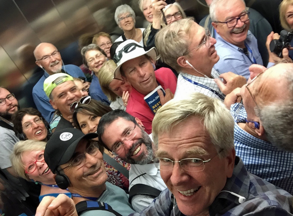 Rick Steves With Group In Elevator
