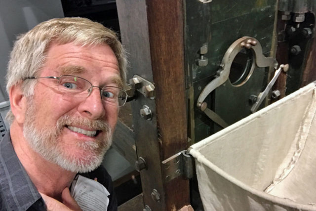 Rick Steves with guillotine