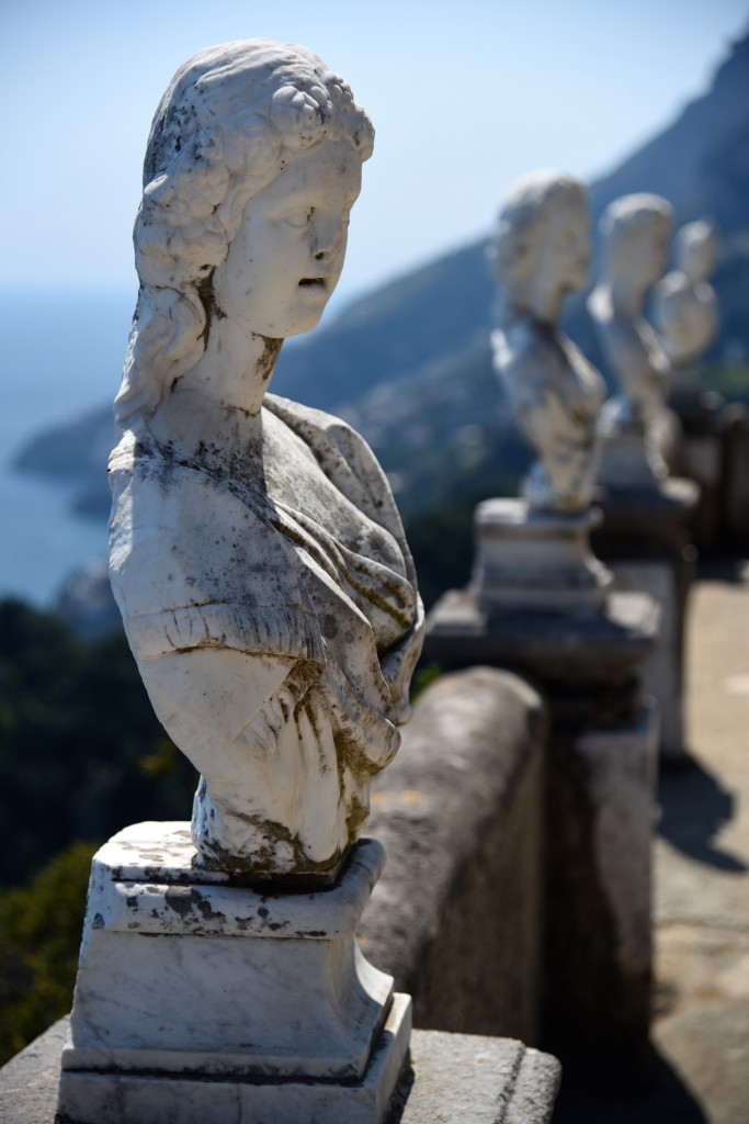 This seems like some sort of torture right out of classical mythology: Statutes forced to stand for eternity, staring away from glorious Amalfi Coast scenery.