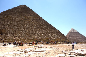 The pyramids at Giza tower above the sand at the edge of Cairo. Four thousand years ago, you could take it with you. Imagine two million stones, two tons each, carved, transported, and then stacked high...all so a king could take his stuff into the next life.