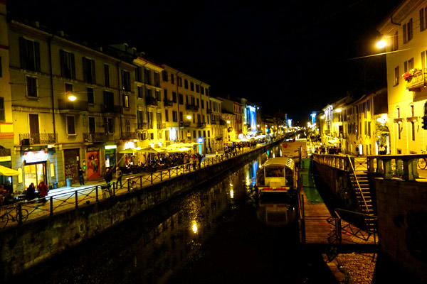 Milan's rejuvenated old industrial canal is becoming one of the city's top nightspots.