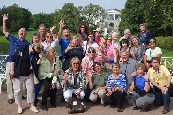 I love to pop in on Rick Steves tour groups as I travel. I've probably crossed paths with a dozen in the last two months. I got to be an honorary member for a group shot on the grounds of Czarina Catherine's palace. The group saved their best faces for my shot.