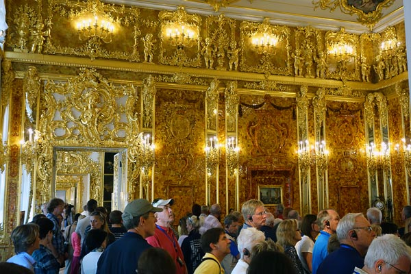 Just like everyone mobs the Mona Lisa at the Louvre, people come to the Catherine Palace mostly to see the Amber Room. In a sumptuous and sprawling palace, this room stands out as a riot of gilded panels, embedded with amber and slathered with mirrors. Like the rest of the palace, the Amber Room had to be restored after World War II. The restoration was made possible, in part, by funds donated by German taxpayers — whose grandfathers caused the damage.