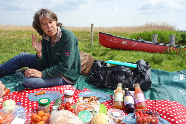 There's no dry ground in the polder land, so a Wetlands Safari picnic is always spread out on a plastic sheet.