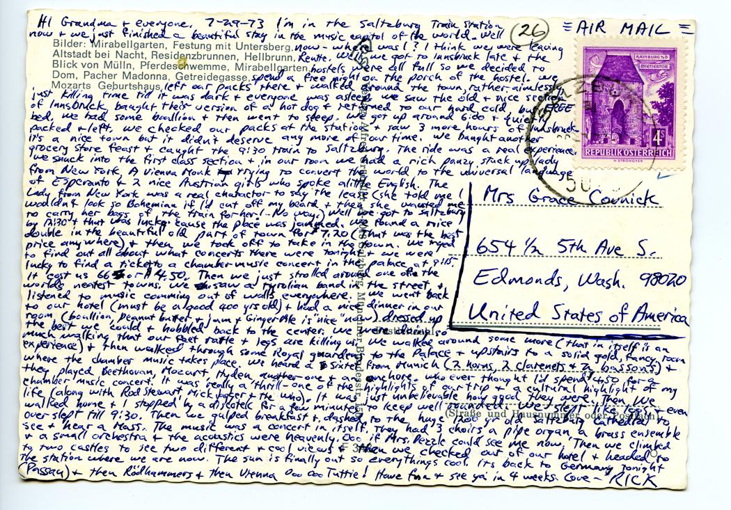 Rick Steves postcard from 1973 Salzburg Austria
