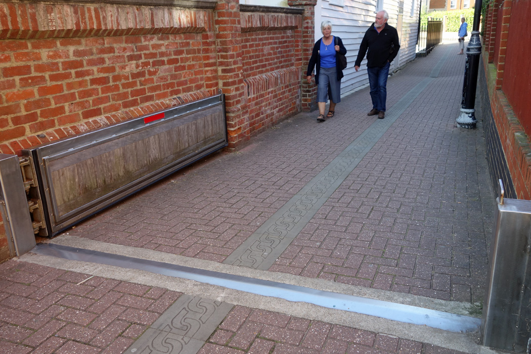 Flood barrier on path