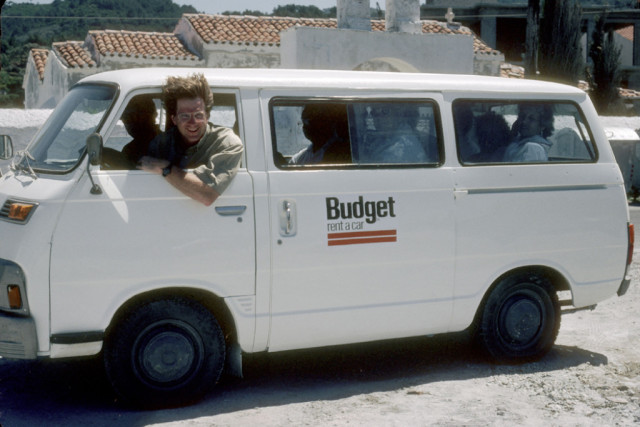 Young Rick Steves in van