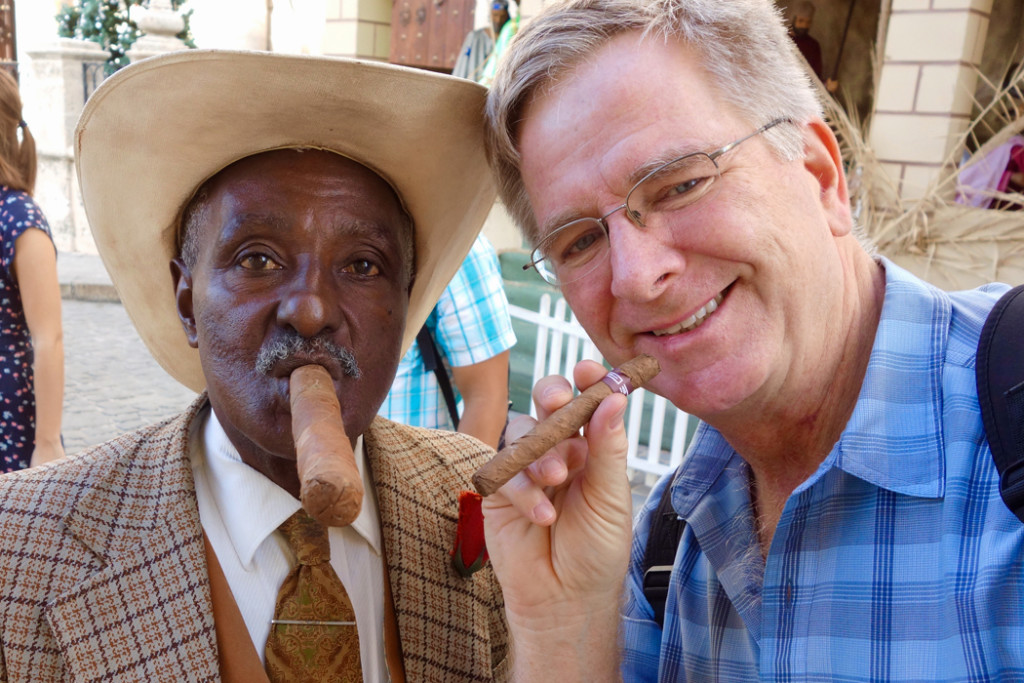 Rick Steves and Cuban man with cigars